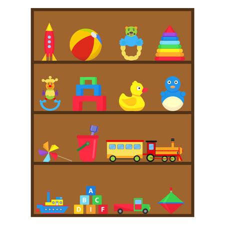 Children's toys, a set of children's toys on the shelf. Flat design, vector illustration. Foto de archivo - 100250666