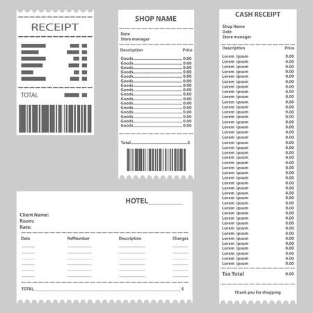 Cash receipt, a set of cashiers checks. Receipt for payment of goods. Flat design, vector illustration.