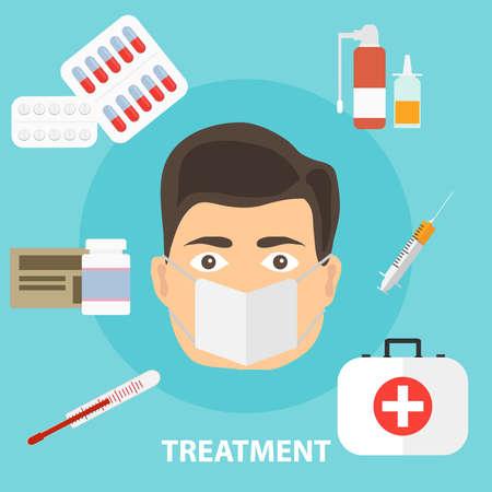 Trattamento della malattia, il concetto di trattamento del paziente. Trattamento medicato. Design piatto, illustrazione vettoriale, vettore.