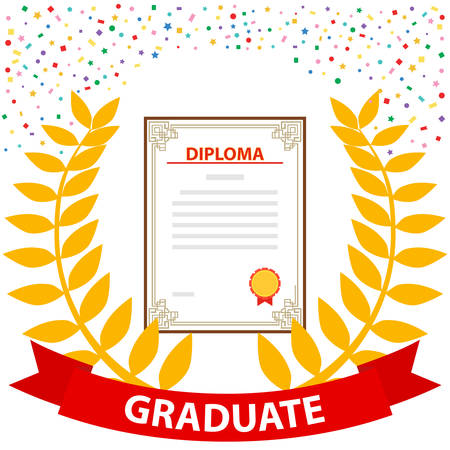 Diploma of the graduate with a laurel wreath. The concept of a graduate. Flat design, vector illustration, vector.