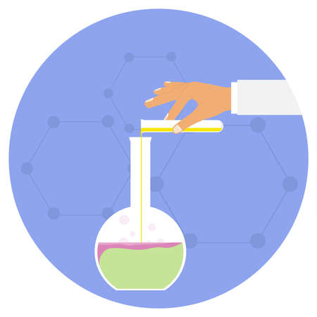 Chemical experience, the hand pours the drug into a flask for chemical experiments. The concept of conducting chemical experience. Flat design, vector illustration, vector
