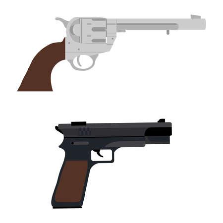 A revolver and a pistol. A set of retro pistols. Flat design, vector illustration, vector.