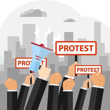 Protest, the concept of protest, the hand raised in protest. Flat design, vector illustration, vector.