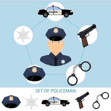 A set of a policeman. A policeman, handcuffs, a gun, a police badge. Flat design, vector illustration, vector. Illustration