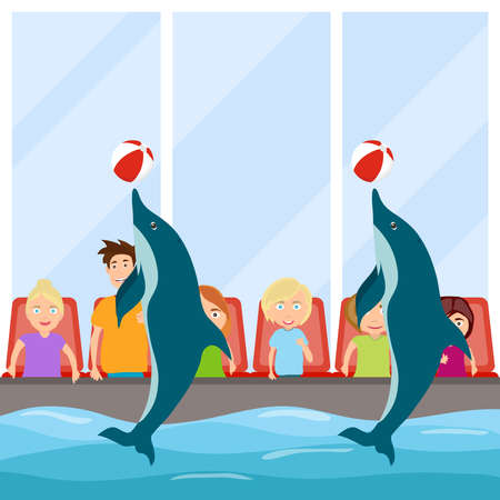 Dolphin show, Dolphinarium. The dolphins show the view. Flat design, vector illustration, vector. 矢量图像
