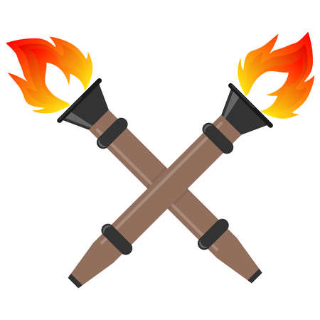 Torch, realistic torches with fire. Two torches. Flat design, vector illustration, vector.