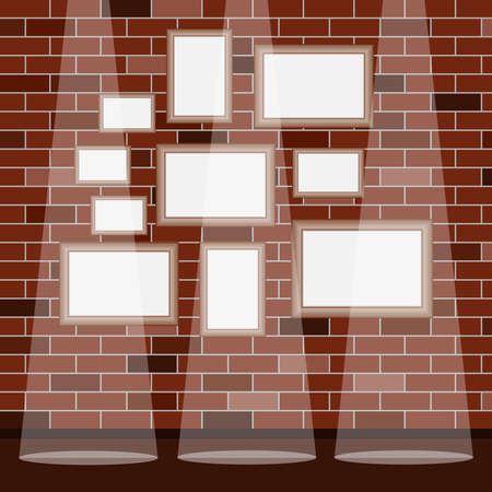 Frames under the picture on a brick wall background. Frame. A set of frames under the picture. Flat design, vector illustration, vector.