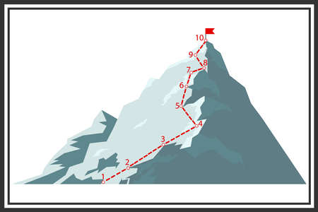 Route of climbing the mountain. Map of the route of the ascent to the mountain peak. Flat design, vector illustration, vector. Illustration