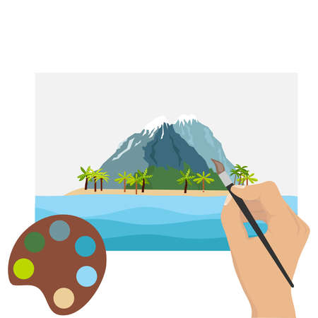 A hand with a brush paints a picture. Draw a landscape. Flat design, vector illustration, vector.