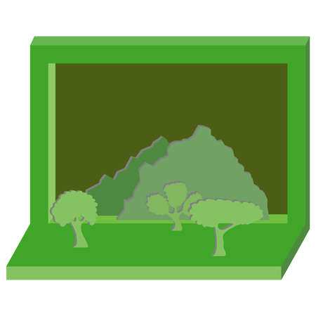Stand with paper trees. Paper trees on a green banner. Flat design, vector illustration, vector. Illustration