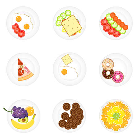 Different food on plates. Time for lunch. Sets of food on plates. Flat design, vector illustration, vector. Stock Illustratie
