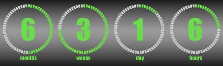 Timer, countdown. Month, week, day, hour. Flat design, vector illustration, vector.