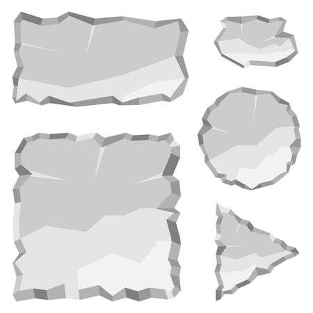 A set of flat stones, flat stones of gray color. Flat design, vector illustration, vector. Stock Illustratie