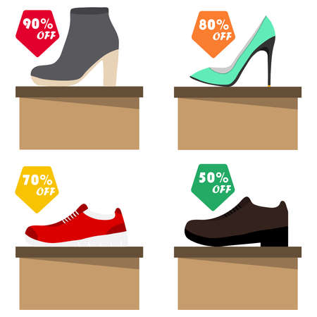 Sale of shoes, shoes are on cardboard boxes with labels. Flat design, vector illustration, vector.