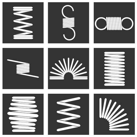 Metal spring, a set of white metal springs against a black background. White spring in a black square. Flat design, vector illustration, vector. Illustration
