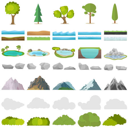 Trees, stones, lakes, mountains, shrubs. A set of realistic elements of nature. Flat design, vector illustration, vector. Zdjęcie Seryjne - 114945246