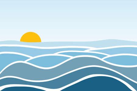 Sea waves. Sunrise against the background of the sea and waves. Flat design, vector illustration, vector. Vektorové ilustrace