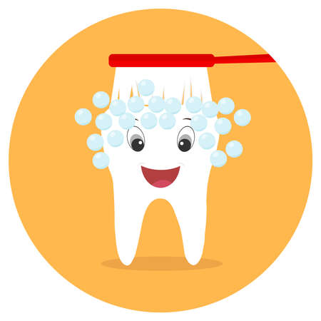 The toothbrush cleans the tooth. An animated tooth of a man with a mouth and eyes. Flat design, vector illustration, vector.