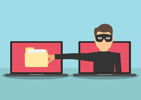 Scam. The Internet scammer wants to steal personal data. A man with a hand wants to steal information from a laptop. Flat design, vector illustration, vector. Illustration