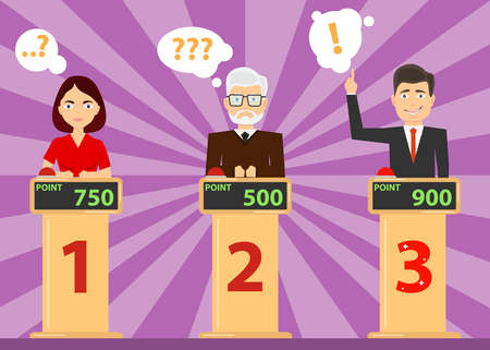 People answer quiz questions and click on the red button. People are thinking about the quiz question. Flat design, vector illustration, vector.