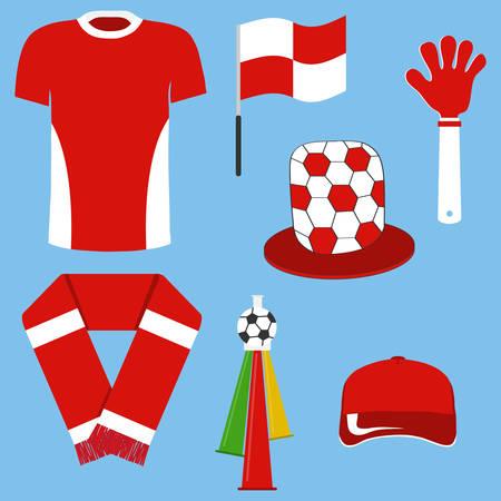 A set of soccer fan items. Subjects of sports fan. Flat design, vector illustration, vector.
