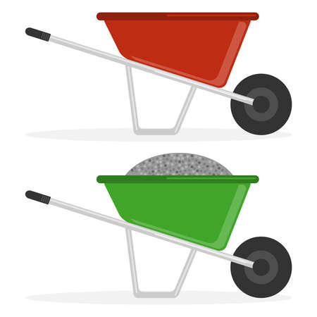 Construction wheelbarrow, a construction wheelbarrow with rubble, an empty construction wheelbarrow. Flat design, vector illustration, vector. Illustration