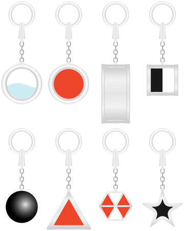 Keychain, realistic keychains. Flat design, vector illustration, vector. Ilustração