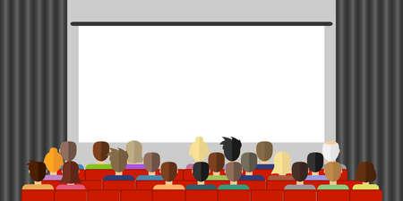 Das Publikum sieht sich einen Film im Kino an. Das Publikum sitzt im Kino und schaut sich den Film an. Flaches Design, Vektorillustration, Vektor. Vektorgrafik