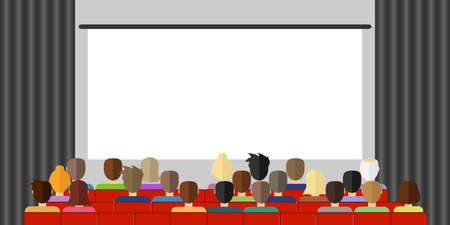The audience is watching a movie in the cinema. The audience is sitting in the cinema and watching the movie. Flat design, vector illustration, vector. Illustration
