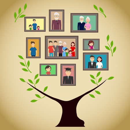 Árbol genealógico con retratos de miembros de la familia. Un verdadero árbol genealógico con fotos. Diseño plano, ilustración vectorial, vector.