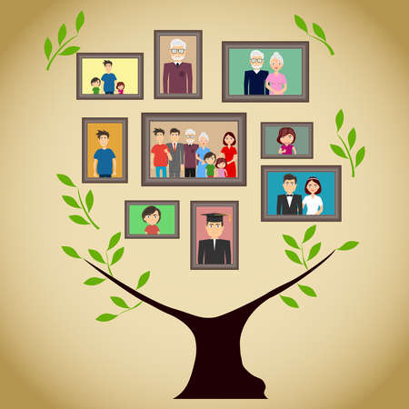 Family tree with portraits of family members. A real family tree with photos. Flat design, vector illustration, vector. Ilustrace
