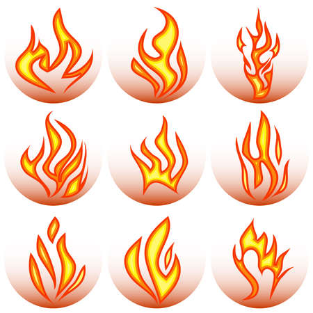 Fire, fire icon. Realistic flames. Flat design, vector illustration, vector.