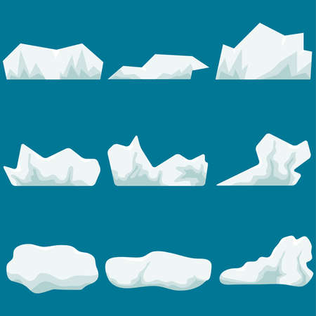 A glacier, a piece of ice. Iceberg. Realistic big chunks of ice. Flat design, vector illustration, vector. Çizim