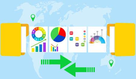Exchange information between folders. Exchange of information between computers of users of different countries. Flat design, vector illustration, vector.