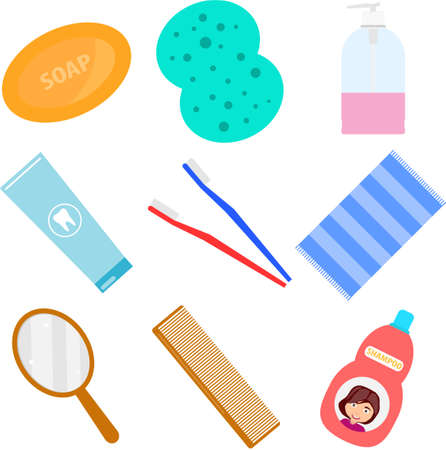 Bathroom accessories. Accessories for washing in the bathroom. Washcloth, comb, toothbrush, shampoo. Flat design, vector illustration, vector.