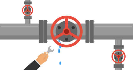 A man with a wrench eliminates the leak in the pipe. The hand holds a wrench and eliminates leakage in the water pipe. Flat design, vector illustration, vector.