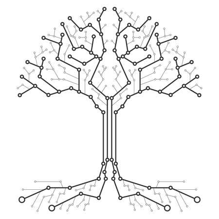 Drzewo technologiczne w postaci płytki drukowanej. Drewno czarno-białe w postaci połączeń płyty technologicznej. Płaska konstrukcja, ilustracji wektorowych, wektor.
