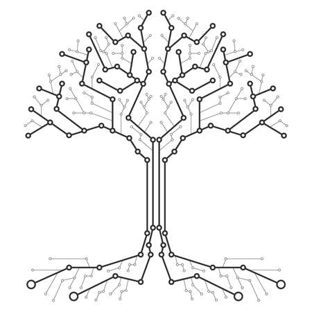 Technological tree in the form of a printed circuit board. Black and white wood in the form of connections of the technological board. Flat design, vector illustration, vector. Vettoriali