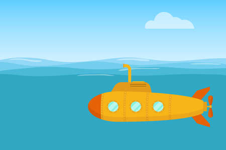 Gelbes U-Boot. Gelbes U-Boot schwimmt im Wasser des Ozeans. Flaches Design, Vektor. Vektorgrafik