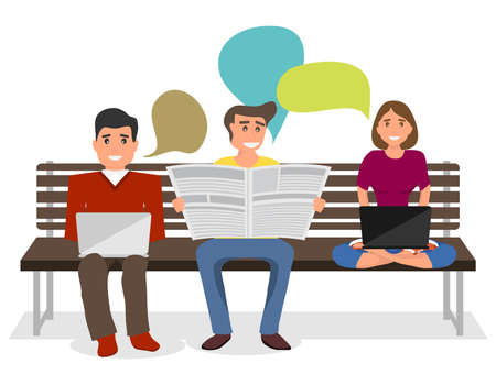 People sit on the bench and share information. A man reads a newspaper and a girl freelancer works on a laptop. Vector illustration of a group of people. Illustration