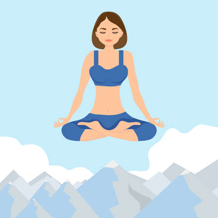 A woman sits in a lotus position and flies above the clouds. A woman in a lotus position flies above the clouds. Vector illustration of a woman in the lotus position.