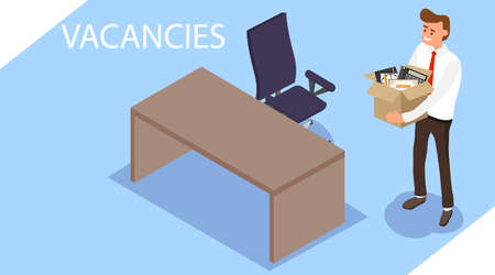 Vacancies. A man with a box of office supplies came to the free space. Office worker in isometric. Flat isometric illustration isolated on a blue background.