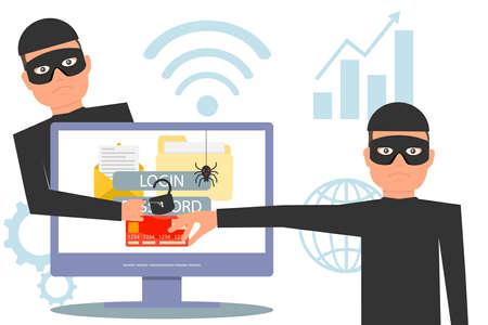 Hacker stehlen Informationen. Hacker, der Geld und persönliche Daten stiehlt. Hacker entsperren Informationen, stehlen und kriminelle Computerdaten. Vektor-Illustration. Vektorgrafik
