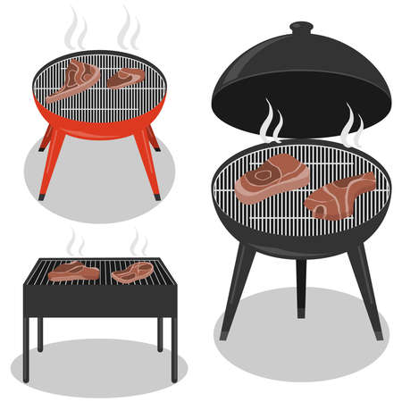Different types barbecue grills. Barbecue grill isolated on white background. BBQ party, traditional cooking food. 向量圖像