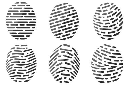 Fingerprint icons set. Set of different vector outline fingerprint isolated on white background. Abstract geometric identification authorization symbol. Vector illustration.