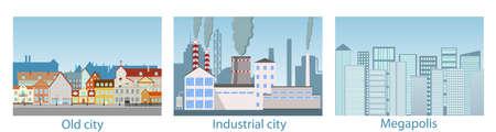 City landscape, metropolis, old town, industrial area. Vector illustration of the urban landscape. Vector Illustratie