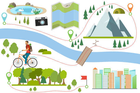 Bike route map. Riding a bike on a various outdoor locations, adventure and vacation travel on a bicycle, lifestyle activity with ecological transport. Outdoor cycling map.