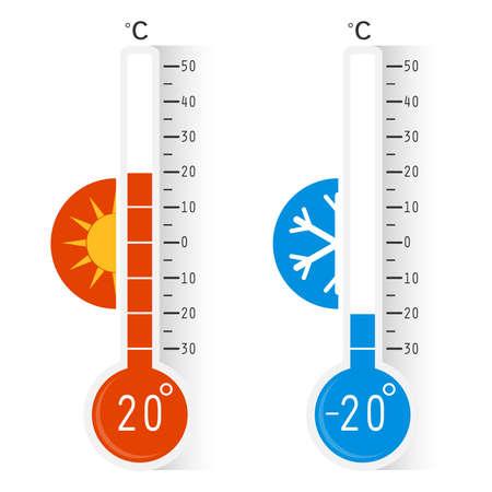 Celsius-Meteorologie-Thermometer, die Hitze und Kälte messen, Vektorillustration. Thermometer. Heiß, kalt. Thermometerausrüstung, die heißes oder kaltes Wetter anzeigt. Vektorgrafik