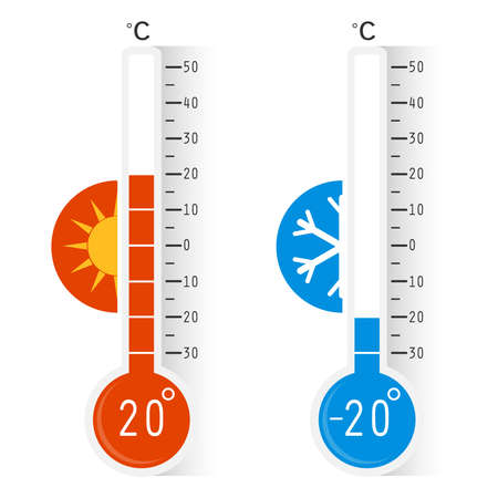 Celsius meteorology thermometers measuring heat and cold, vector illustration. Thermometer. Hot, cold. Thermometer equipment showing hot or cold weather. Ilustração Vetorial