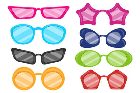 Carnival party masquerade costume glasses heart star cat eye shaped funny sunglasses realistic set. Set of doodle style sunglasses on white background. Vector illustration. Vector Illustration